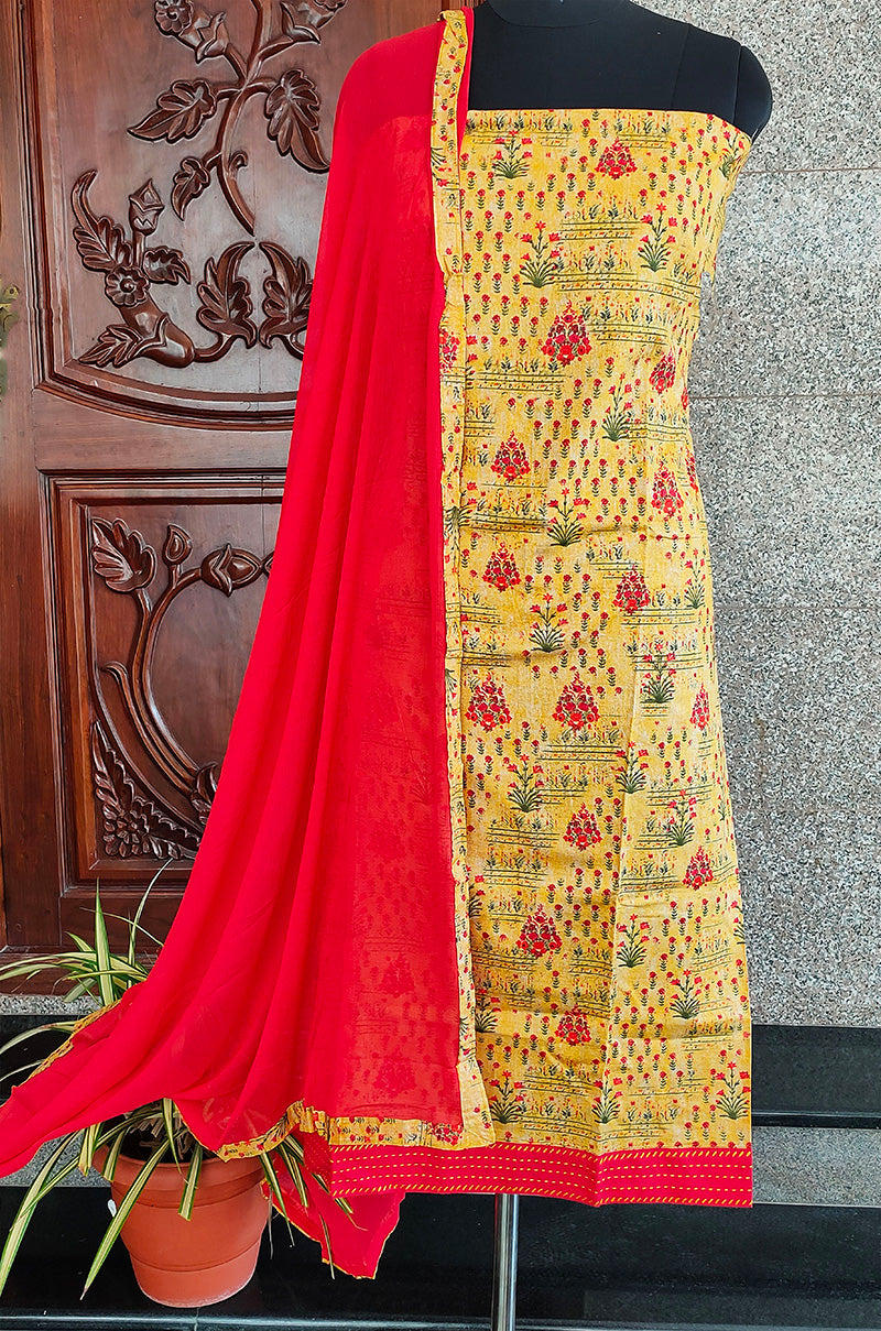 Mathuri yellow/red double top Salwar set - STUDIO PEHEL