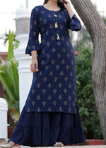 Load image into Gallery viewer, Blue kurti and full flared sharara with gold prints - STUDIO PEHEL