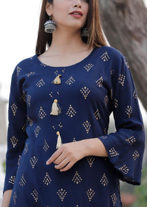 Blue kurti and full flared sharara with gold prints - STUDIO PEHEL