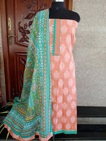 Load image into Gallery viewer, Peach White floral salwar set - STUDIO PEHEL