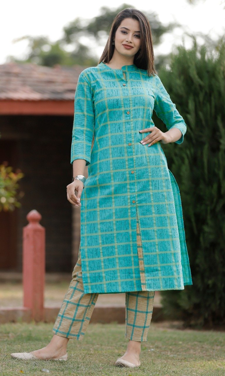 Blue kurti with checkered pant