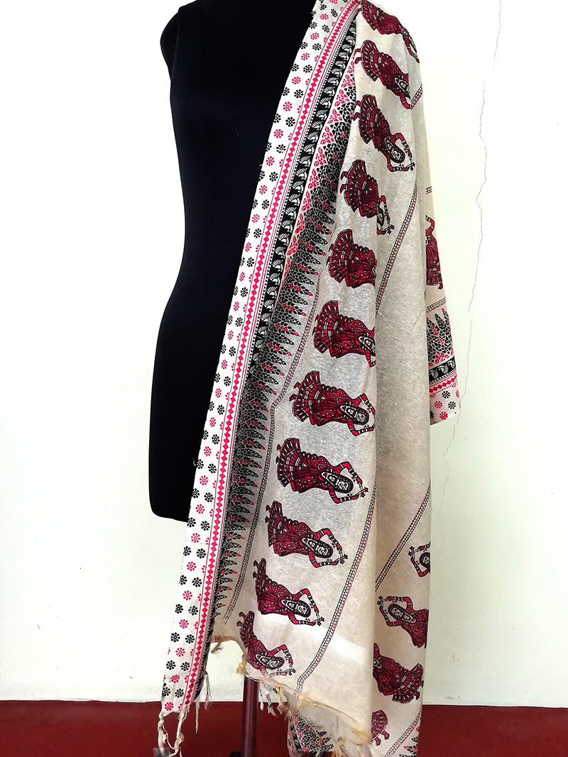Cotton jute Handpainted Dupatta - STUDIO PEHEL