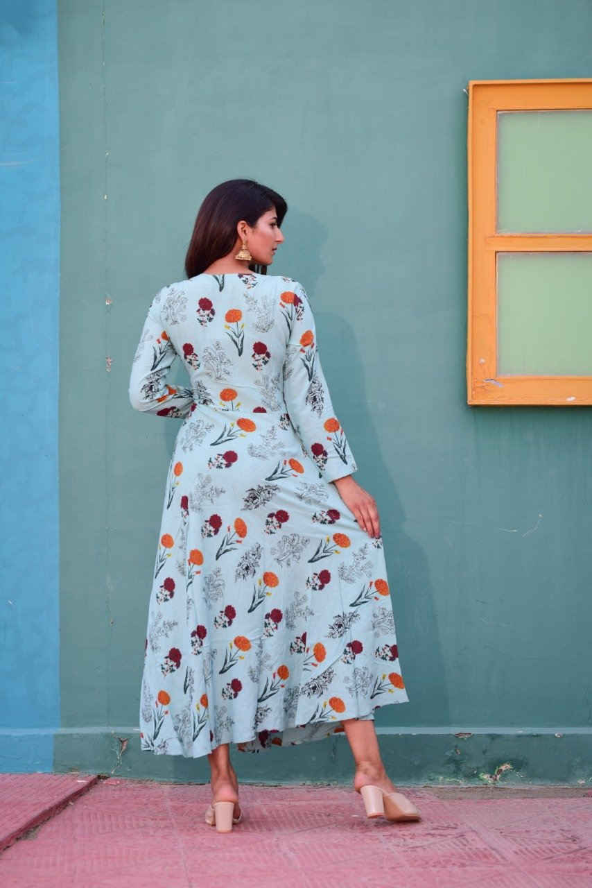 Floral kurti with adda work - STUDIO PEHEL