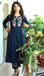 Load image into Gallery viewer, Blue embroidered kurti dress