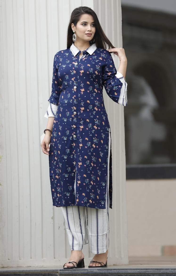 Blue kurti with floral prints and white pant - STUDIO PEHEL