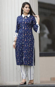 Blue kurti with floral prints and white pant