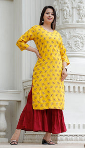 Yellow Amazing hand work kurti with Sharara