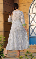 Load image into Gallery viewer, white Printed Long Kurti with Foil mirror work