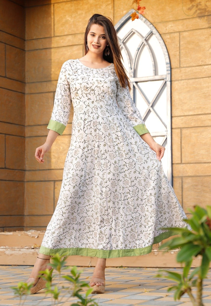 white Printed Long Kurti with Foil mirror work