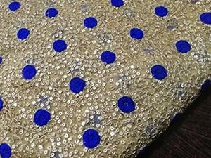 Gold/blue polka Heavy embroidered net fabric - STUDIO PEHEL