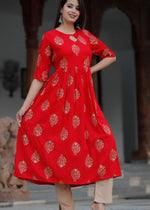 Load image into Gallery viewer, Long red kurti and pant with beautiful floral prints