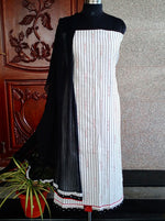 Load image into Gallery viewer, Tanu black/white striped soft cotton salwar suit set - STUDIO PEHEL