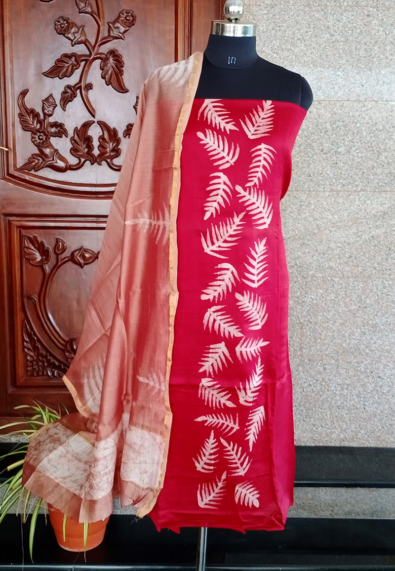 Raashi red tussar handpainted salwar suit set - STUDIO PEHEL