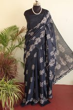 Load image into Gallery viewer, Madhubani Silk Blue Batik print saree