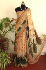 Load image into Gallery viewer, Beige Peacock Soft Brasso Saree