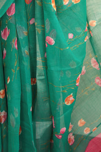 Tulip Teal Cotton Linen Saree