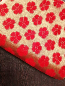 Red Brasso floral Heavy embroidered fabric - STUDIO PEHEL