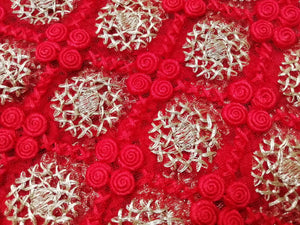 Laknaavi red Heavy embroidered net fabric - STUDIO PEHEL