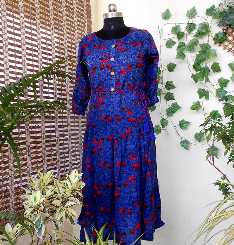 Anya denim blue pleated kurti - STUDIO PEHEL