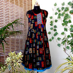 Load image into Gallery viewer, Aastha black & blue pannelled cotton kurti