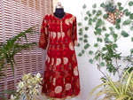 Load image into Gallery viewer, Aastha red biege pannelled cotton kurti