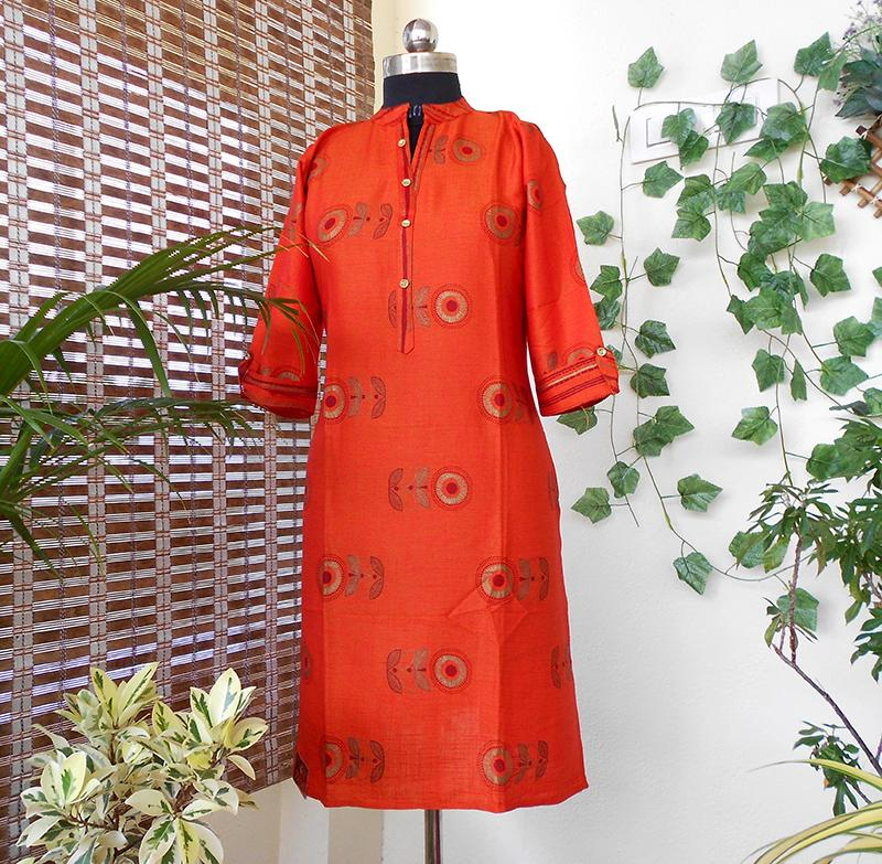 Anya orange straight southcotton kurti - STUDIO PEHEL