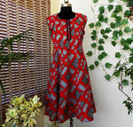 Load image into Gallery viewer, Aastha red grey pannelled cotton kurti