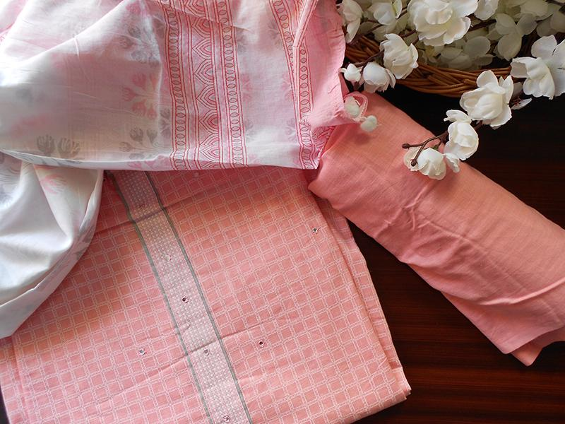 Small Checks soft cotton salwar- Pink - STUDIO PEHEL