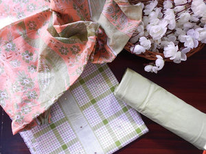 Checkered soft cotton salwarset-green - STUDIO PEHEL
