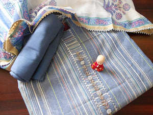 Ikkat striped salwar set- Denim blue - STUDIO PEHEL