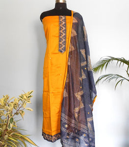 South Cotton silk salwar-Golden Yellow - STUDIO PEHEL