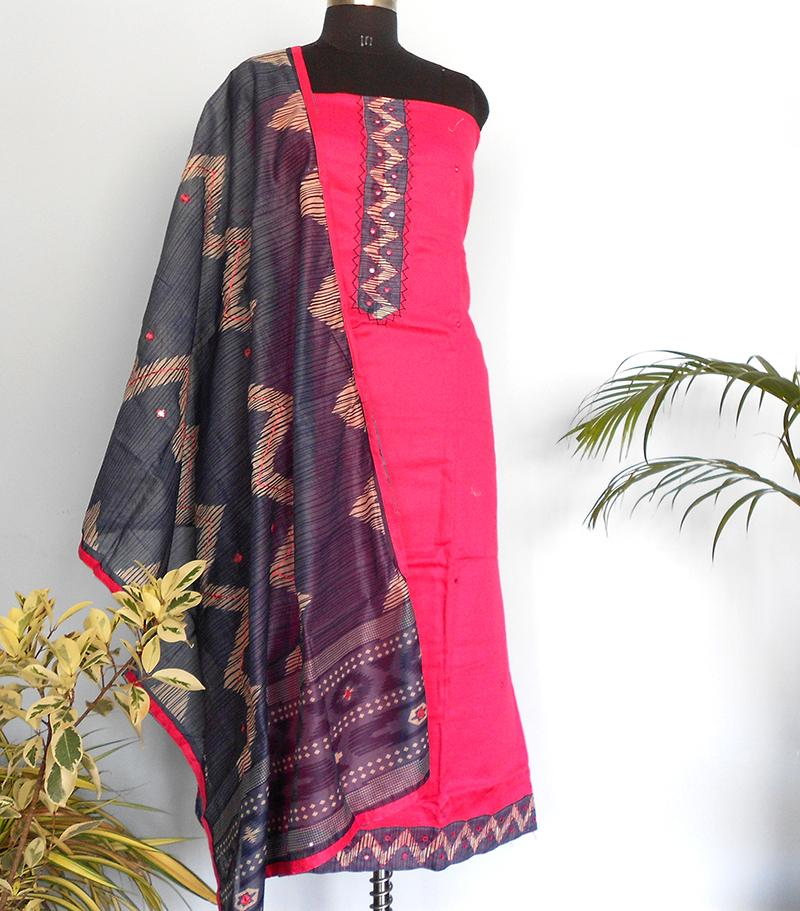 South Cotton silk salwar-Rani Pink - STUDIO PEHEL