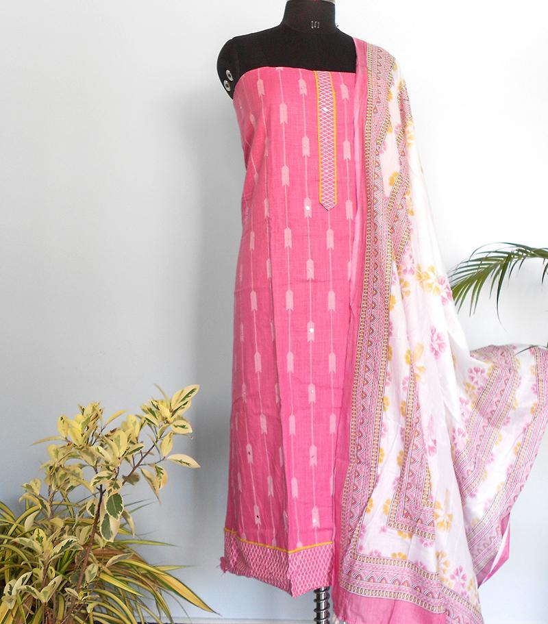 Ikkat cotton arrow print salwar- bubble gum pink - STUDIO PEHEL