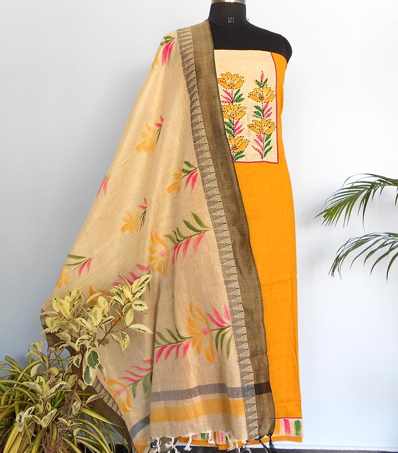 South cotton Handpainted salwar-Yellow - STUDIO PEHEL