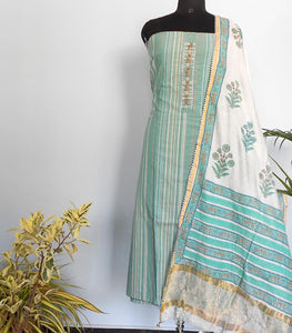 Ikkat striped salwar set- Pastel green - STUDIO PEHEL