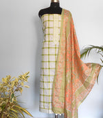 Load image into Gallery viewer, Checkered soft cotton salwarset-green - STUDIO PEHEL