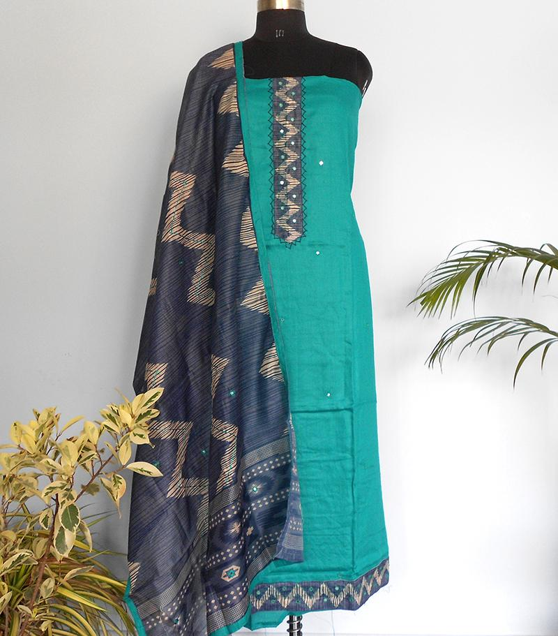 South Cotton silk salwar-Teal - STUDIO PEHEL