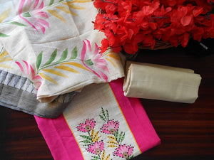 South cotton Handpainted salwar-Pink - STUDIO PEHEL