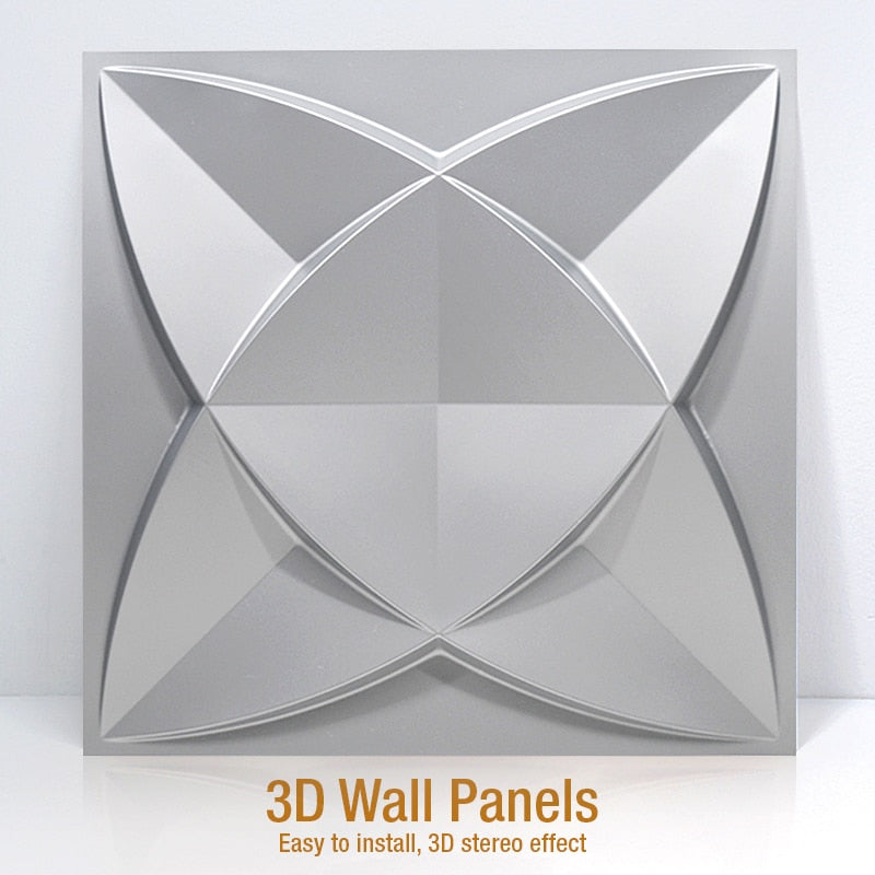 "12""x12"" 3D PVC Wall Tile Panel Abstract Flower Style - Profinishes"