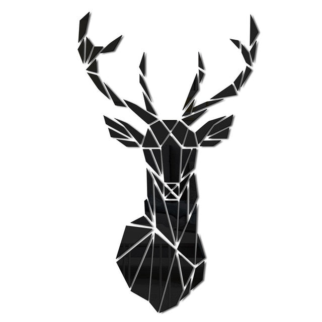 3D Deer Head Mirror Wall Accent Self-Sticker - Profinishes