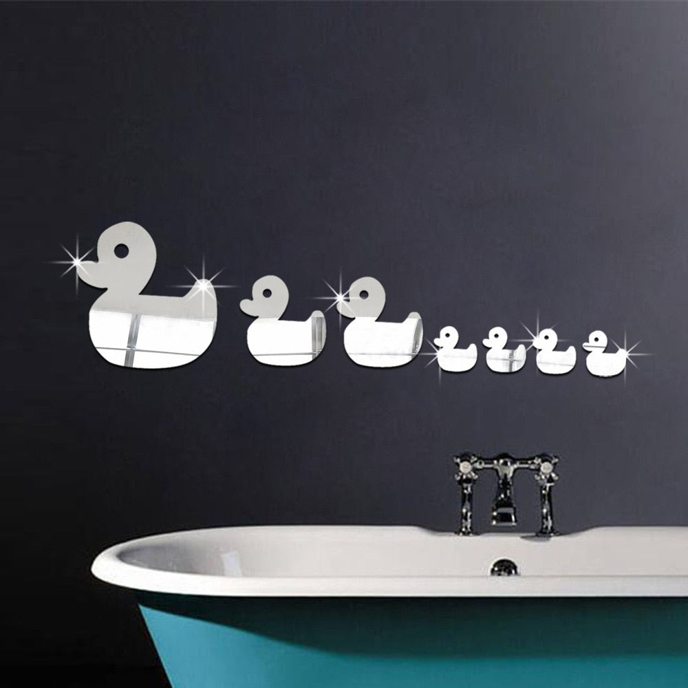3D Wall Ducks Shape Mirror Decorations for Kids Room - Profinishes