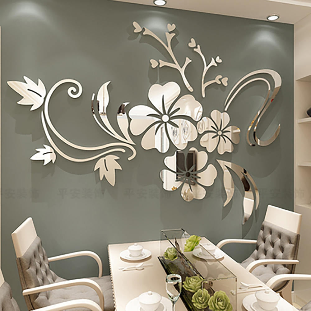 1 Set Exquisite Flower 3D Mirror Wall Stickers Removable Decal - Profinishes