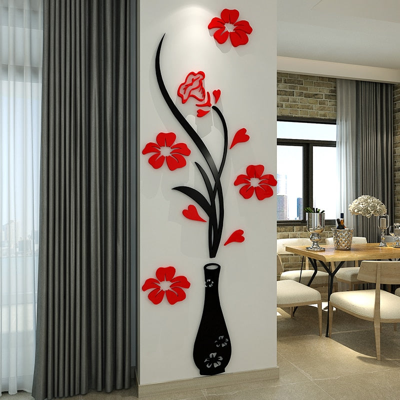 3D Acrylic Flowers Crystal mirror wall stickers - Profinishes