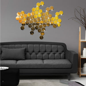 12pcs / 3D hexagonal acrylic mirror wall Accents, Self Adhesive - Profinishes
