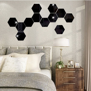 7Pcs Black 3D Mirror Hexagon Wall Accent Self Adhesive - Profinishes