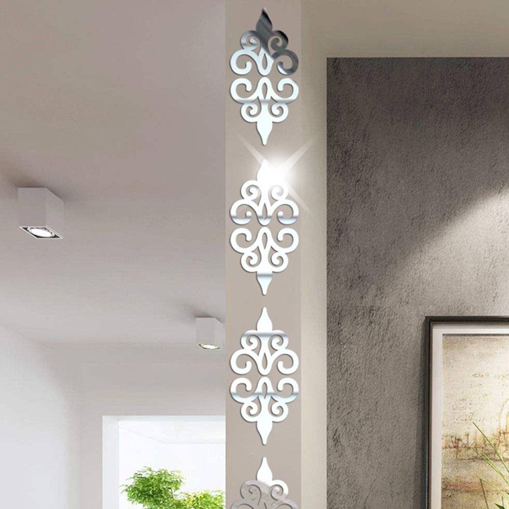 3D Geometric Pattern Acrylic Mirror Self-Stick Wall Accent - Profinishes