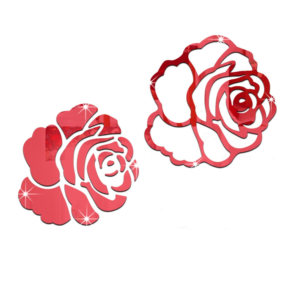 3D Rose Flower Acrylic Mirror Wall Sticker - Profinishes