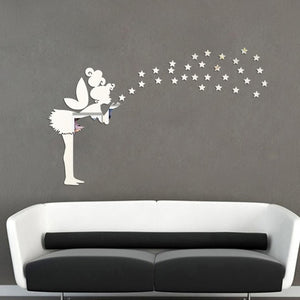 Twinkle Bell with Stars 3D Mirror Wall Sticker for Bedroom Kids - Profinishes
