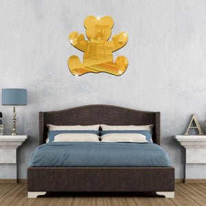 Modern Bear Mirror Acrylic Wall Sticker For Children Beth-room,  Home Decoration - Profinishes