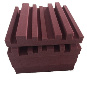 "12""x12""x2"" Acoustic Diffuser Insulator Panels Burgundy (5pcs) - Profinishes"